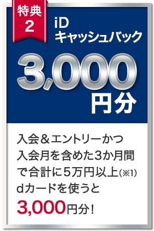 入会翌々月末までに50,000円(税込)以上利用でiDキャッシュバック4,000円分